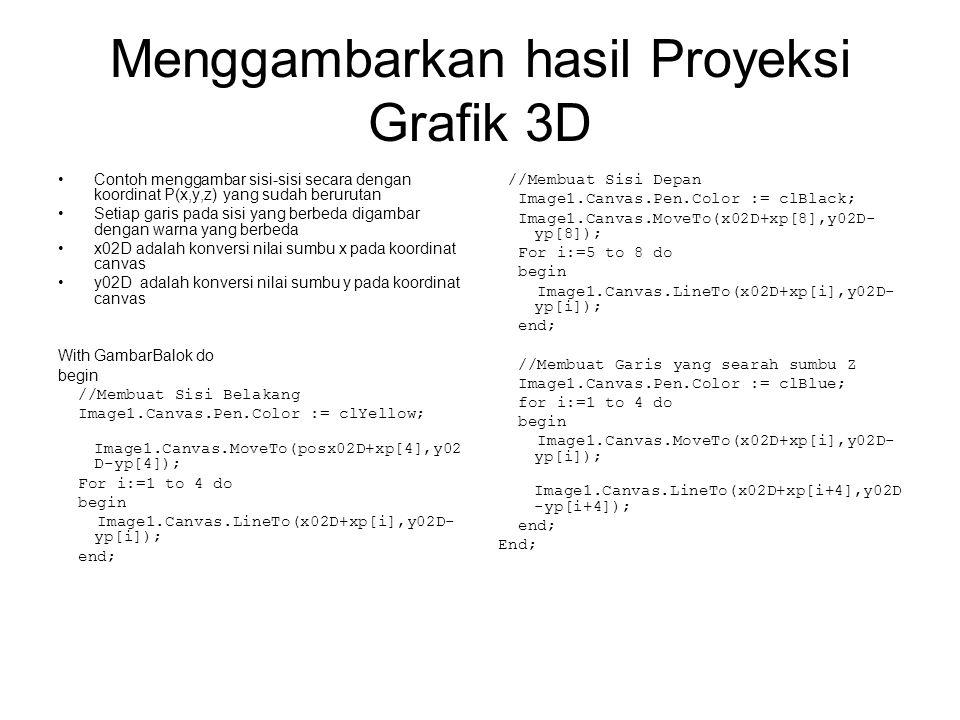 Menggambarkan hasil Proyeksi Grafik 3D