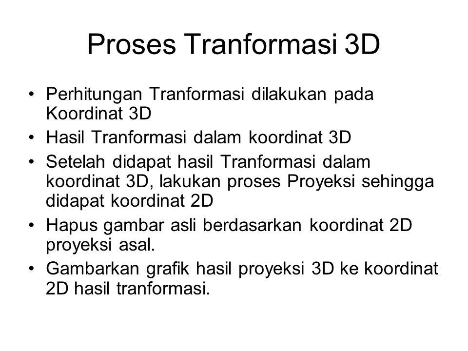 Proses Tranformasi 3D Perhitungan Tranformasi dilakukan pada Koordinat 3D. Hasil Tranformasi dalam koordinat 3D.