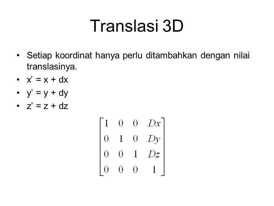 Translasi 3D Setiap koordinat hanya perlu ditambahkan dengan nilai translasinya. x' = x + dx. y' = y + dy.