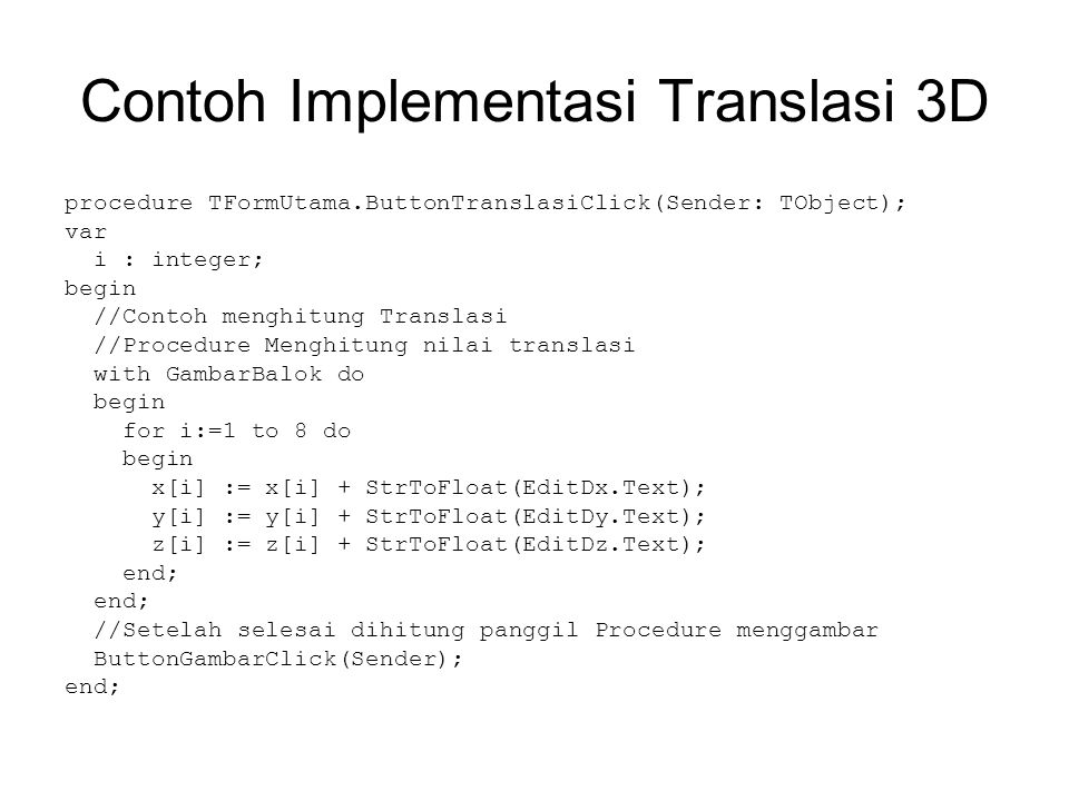 Contoh Implementasi Translasi 3D