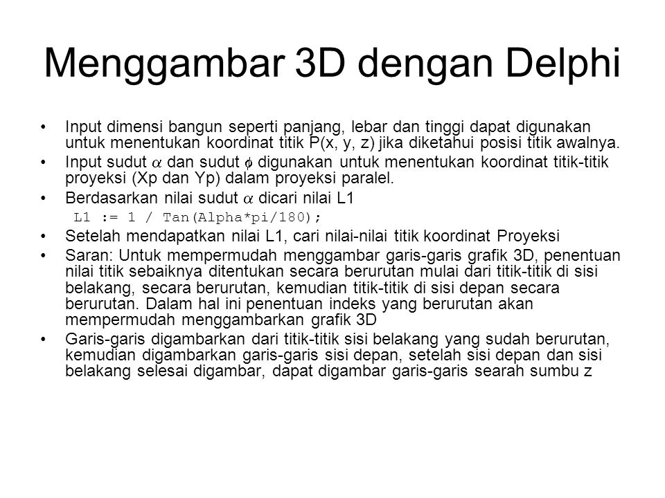 Menggambar 3D dengan Delphi