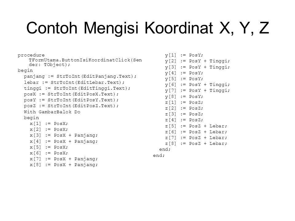 Contoh Mengisi Koordinat X, Y, Z