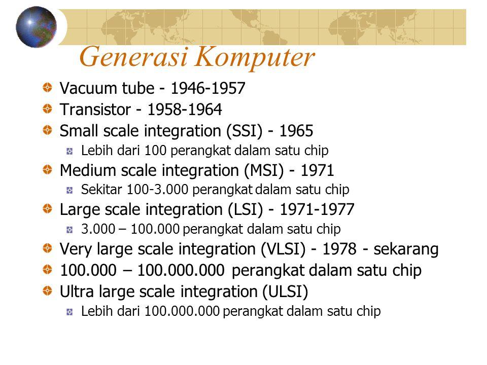 Generasi Komputer Vacuum tube - 1946-1957 Transistor - 1958-1964