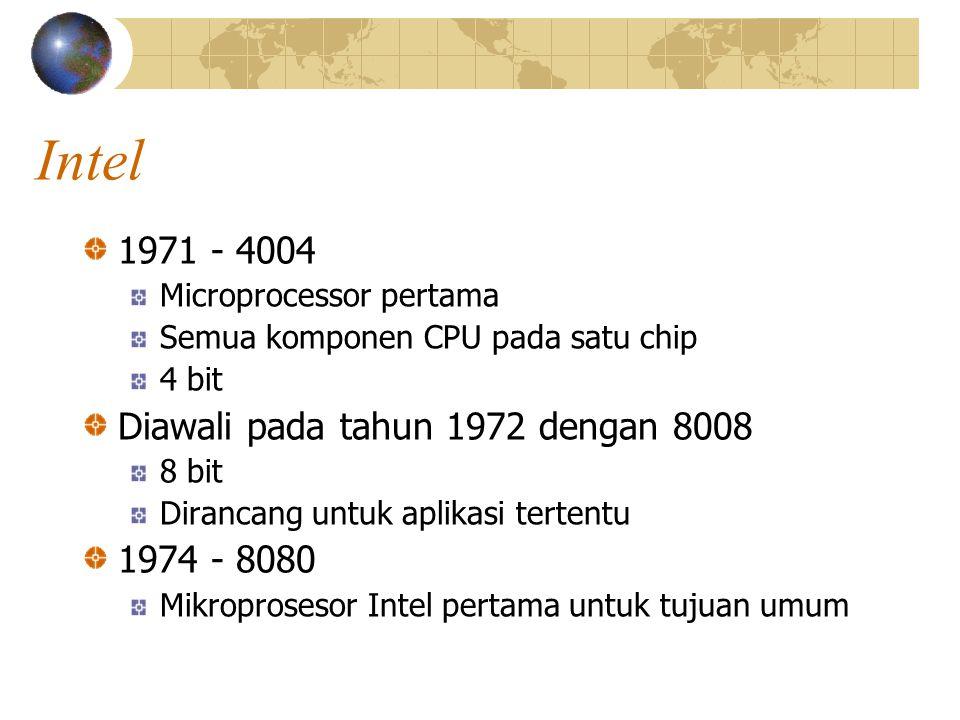 Intel 1971 - 4004 Diawali pada tahun 1972 dengan 8008 1974 - 8080