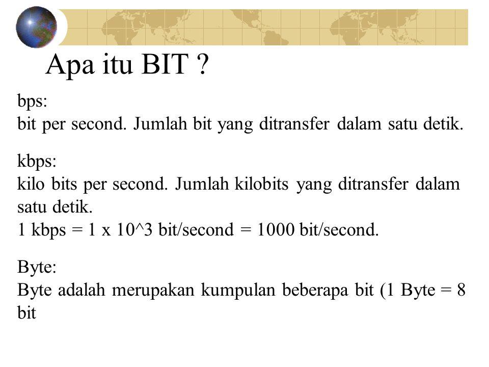 Apa itu BIT bps: bit per second. Jumlah bit yang ditransfer dalam satu detik. kbps: