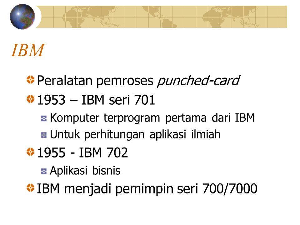 IBM Peralatan pemroses punched-card 1953 – IBM seri 701 1955 - IBM 702
