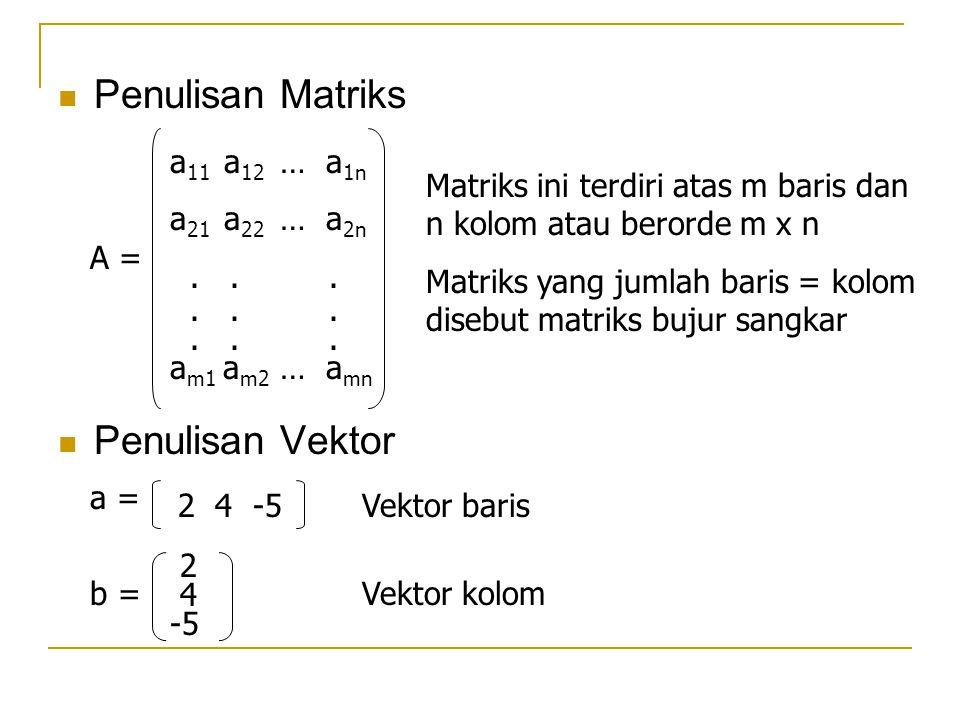 Penulisan Matriks Penulisan Vektor a11 a12 … a1n a21 a22 … a2n . . .