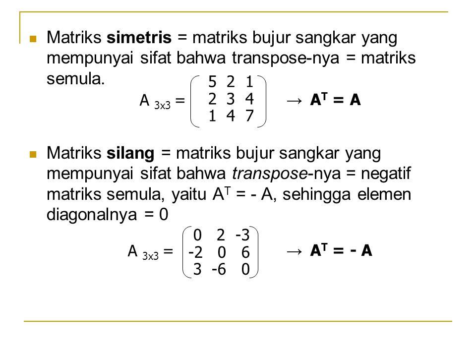 Matriks simetris = matriks bujur sangkar yang mempunyai sifat bahwa transpose-nya = matriks semula.