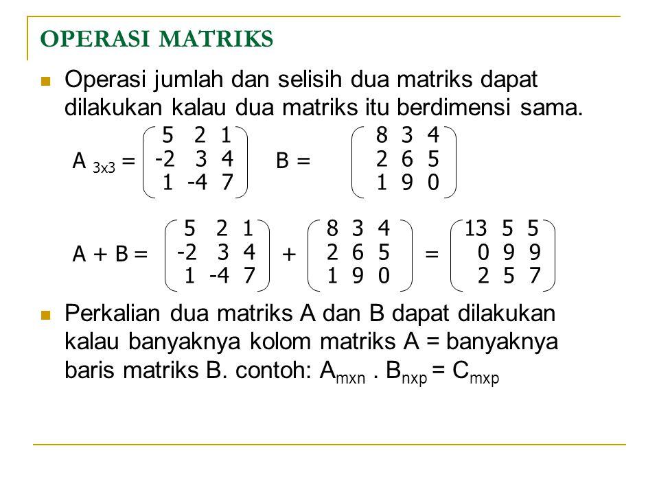 OPERASI MATRIKS Operasi jumlah dan selisih dua matriks dapat dilakukan kalau dua matriks itu berdimensi sama.