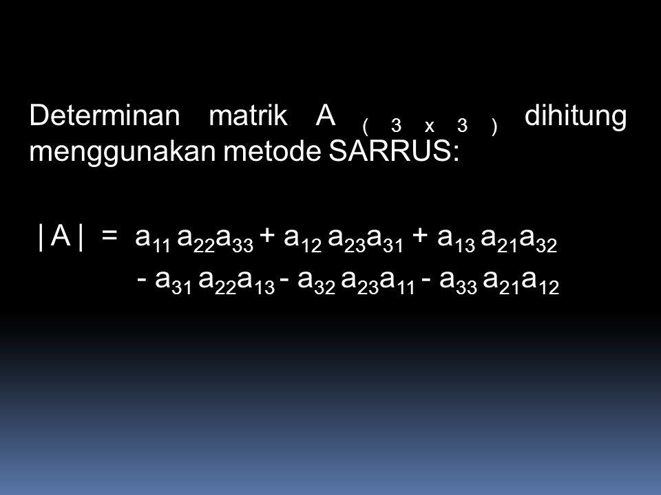 Determinan matrik A ( 3 x 3 ) dihitung menggunakan metode SARRUS: