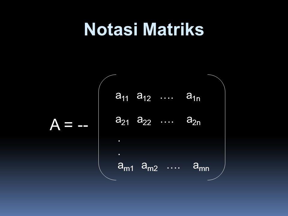 Notasi Matriks A = -- a11 a12 …. a1n a21 a22 …. a2n . am1 am2 …. amn