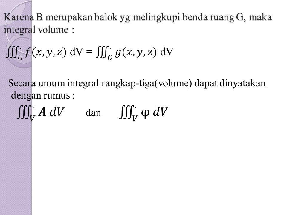 Karena B merupakan balok yg melingkupi benda ruang G, maka integral volume :