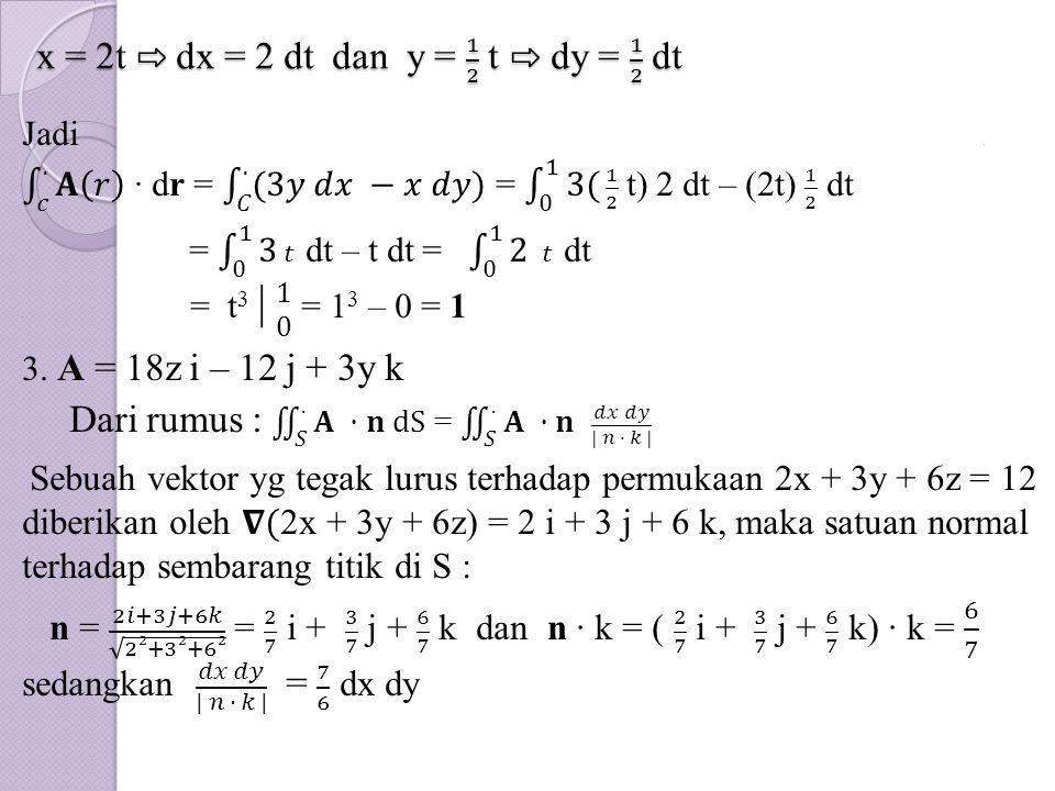 x = 2t ⇨ dx = 2 dt dan y = 1 2 t ⇨ dy = 1 2 dt