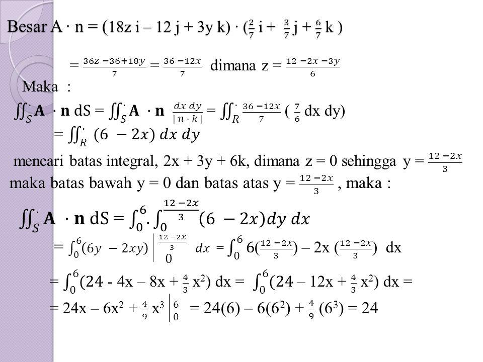 Besar A · n = (18z i – 12 j + 3y k) · ( 2 7 i + 3 7 j + 6 7 k )