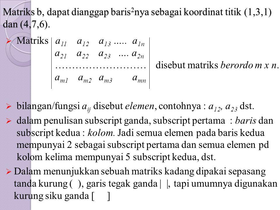 Matriks b, dapat dianggap baris2nya sebagai koordinat titik (1,3,1) dan (4,7,6).