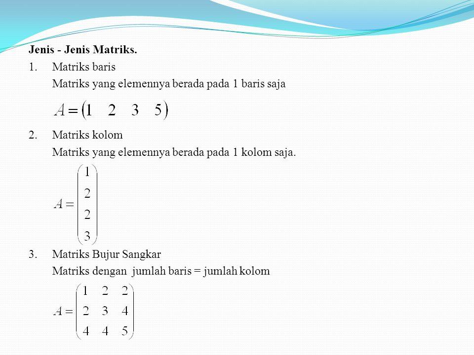 Jenis - Jenis Matriks. 1. Matriks baris. Matriks yang elemennya berada pada 1 baris saja. 2. Matriks kolom.