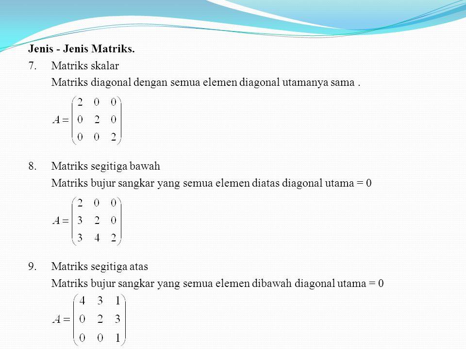 Jenis - Jenis Matriks. 7.