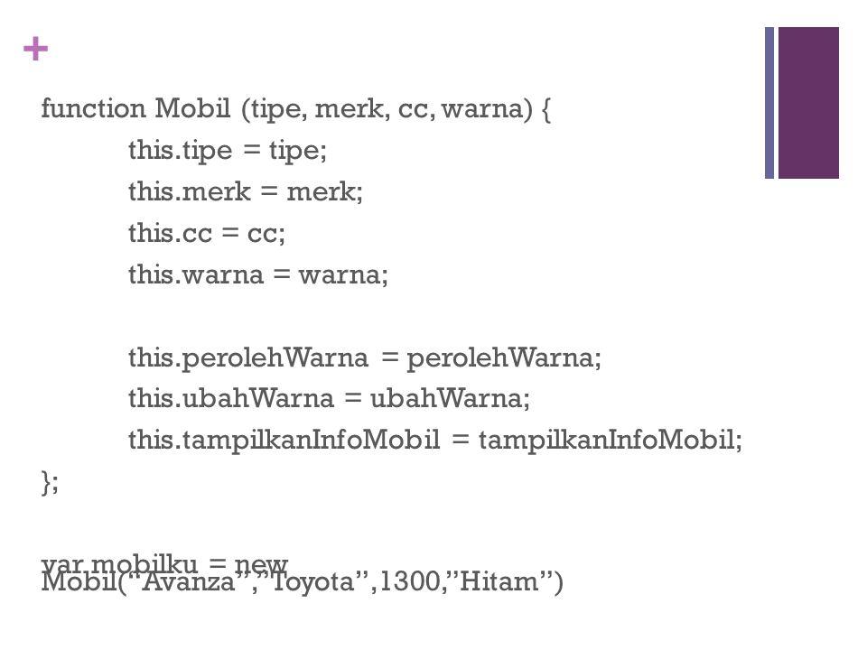 function Mobil (tipe, merk, cc, warna) {