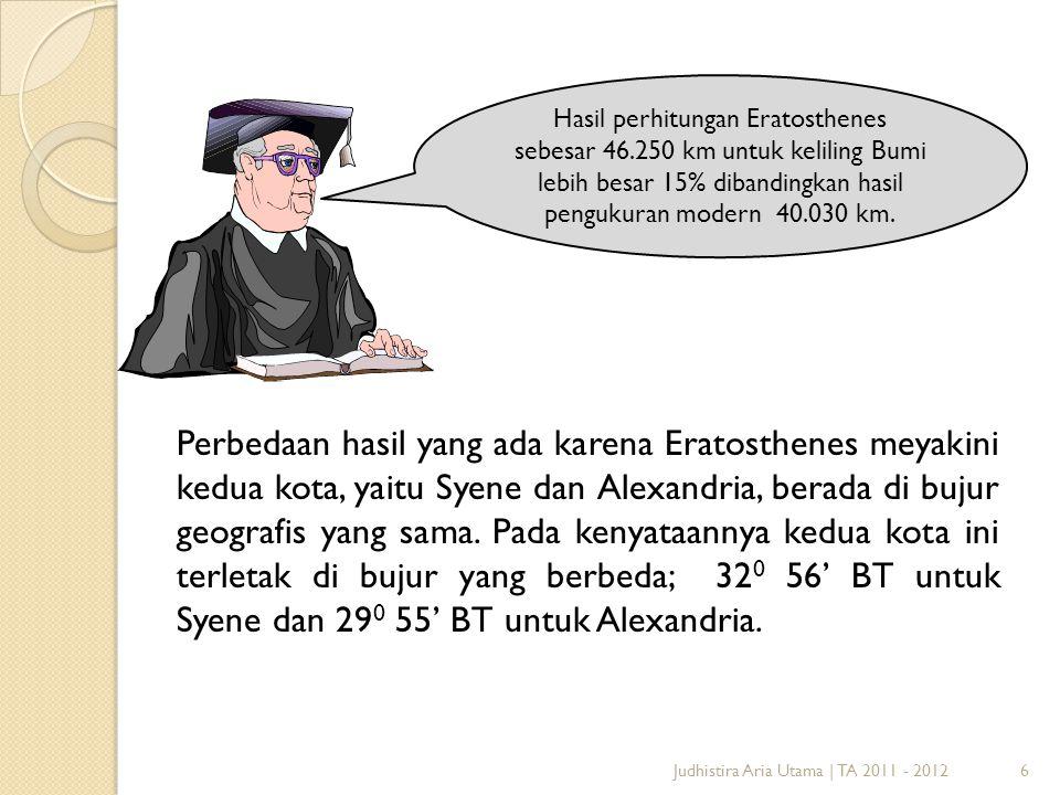 Hasil perhitungan Eratosthenes sebesar 46