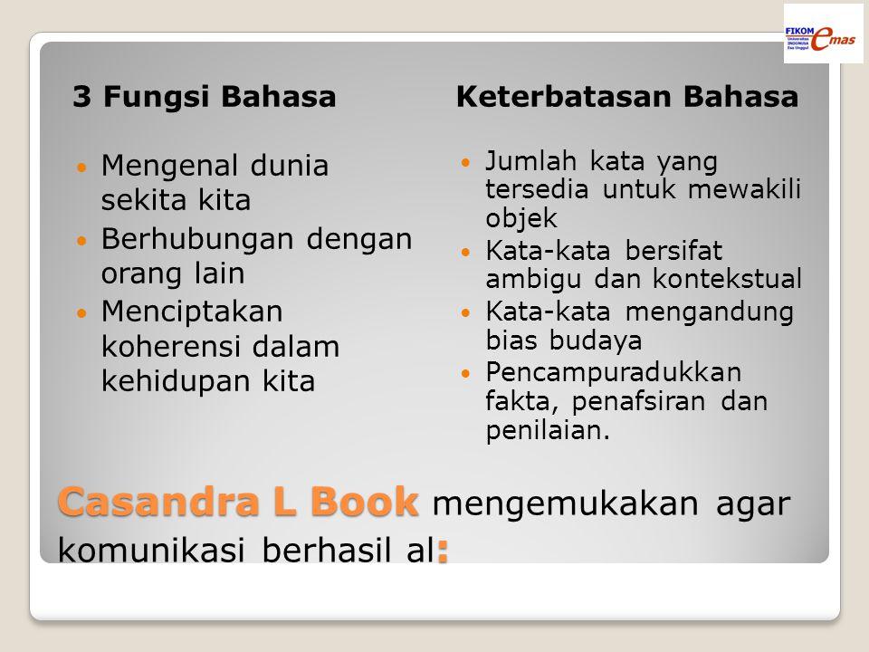 Casandra L Book mengemukakan agar komunikasi berhasil al:
