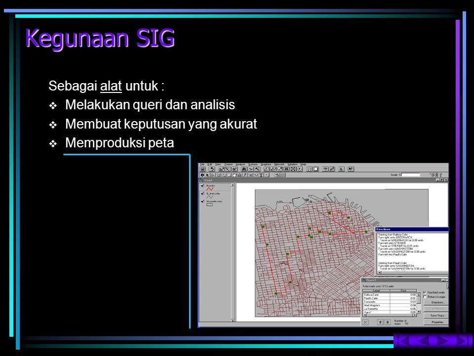 Kegunaan SIG Sebagai alat untuk : Melakukan queri dan analisis