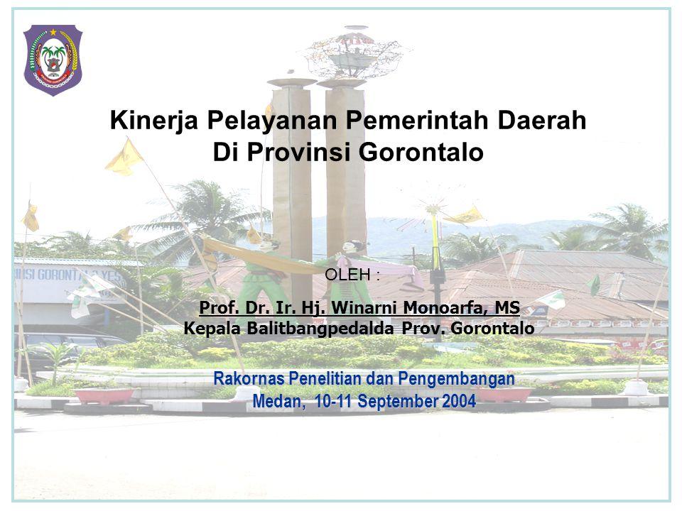 Kinerja Pelayanan Pemerintah Daerah Di Provinsi Gorontalo
