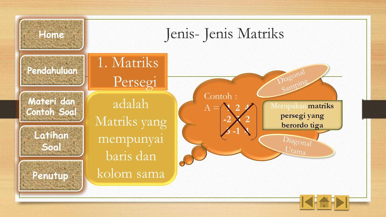 Jenis- Jenis Matriks 1. Matriks Persegi