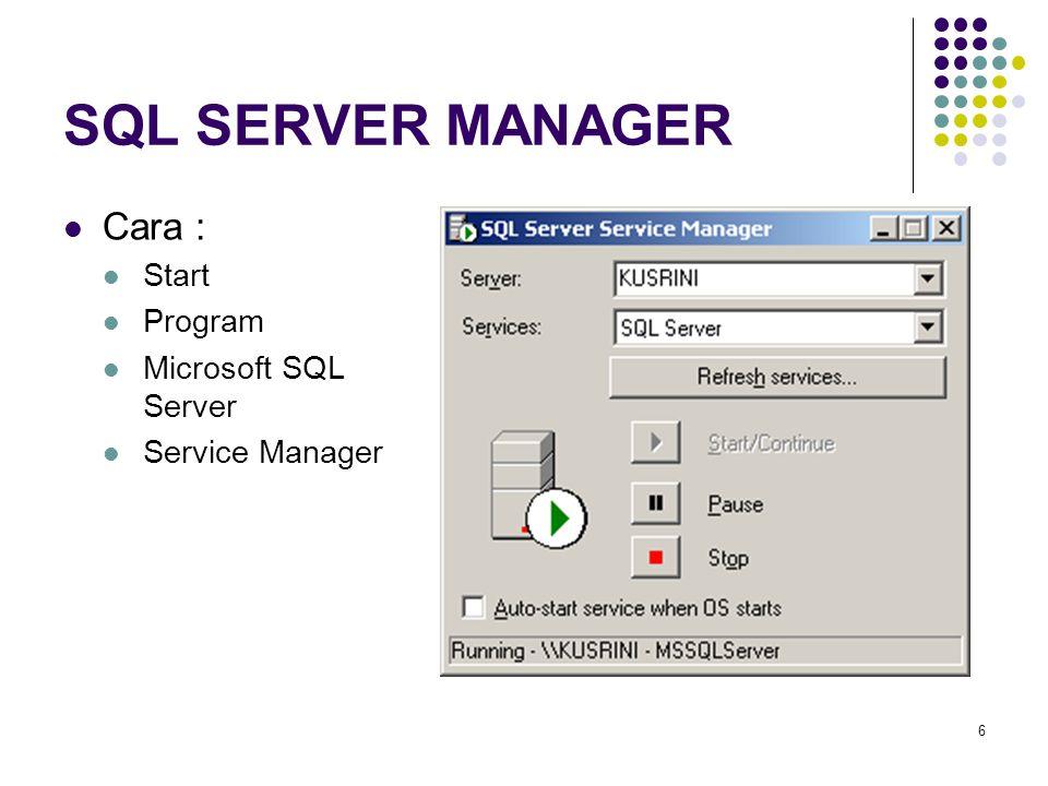 SQL SERVER MANAGER Cara : Start Program Microsoft SQL Server