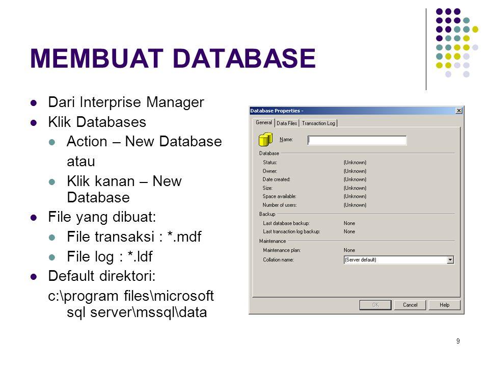 MEMBUAT DATABASE Dari Interprise Manager Klik Databases
