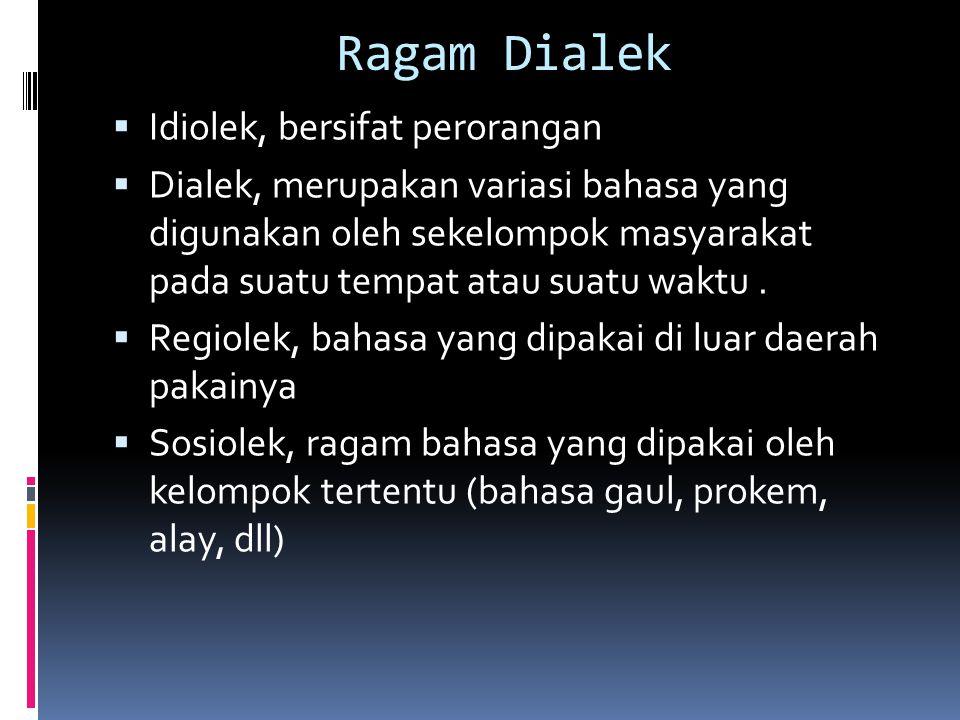 Ragam Dialek Idiolek, bersifat perorangan