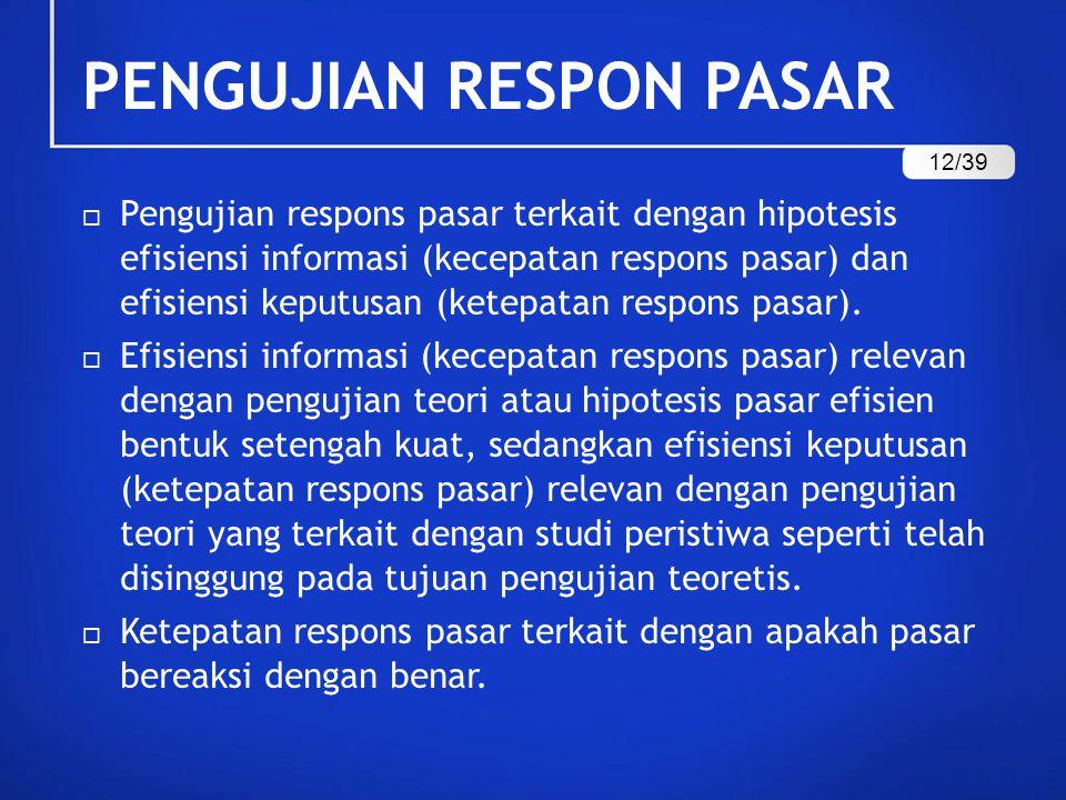PENGUJIAN RESPON PASAR