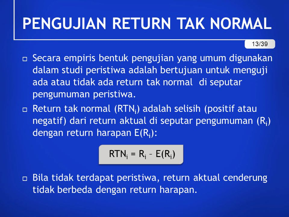 PENGUJIAN RETURN TAK NORMAL