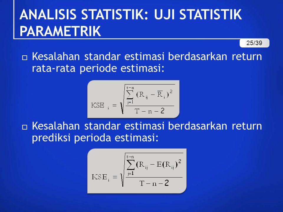 ANALISIS STATISTIK: UJI STATISTIK PARAMETRIK