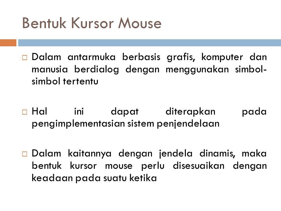 Bentuk Kursor Mouse Dalam antarmuka berbasis grafis, komputer dan manusia berdialog dengan menggunakan simbol- simbol tertentu.