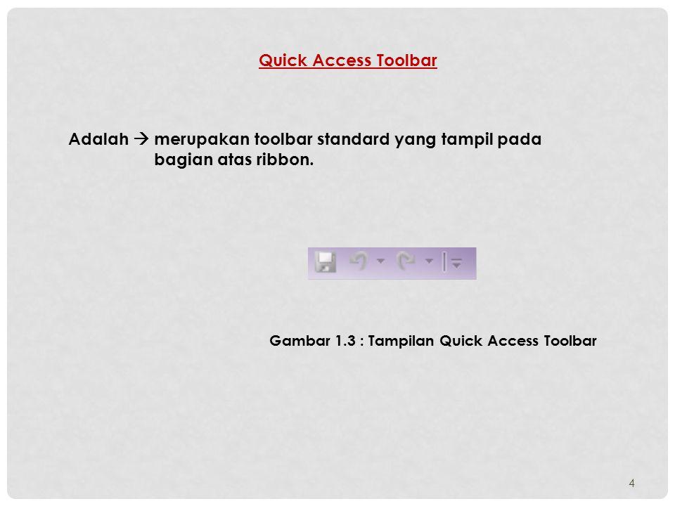 Quick Access Toolbar Adalah  merupakan toolbar standard yang tampil pada bagian atas ribbon.