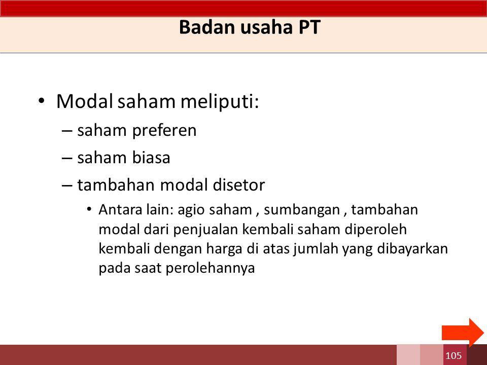 Badan usaha PT Modal saham meliputi: saham preferen saham biasa