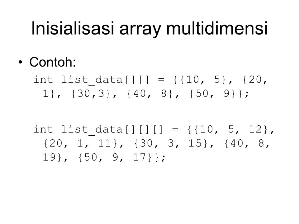 Inisialisasi array multidimensi