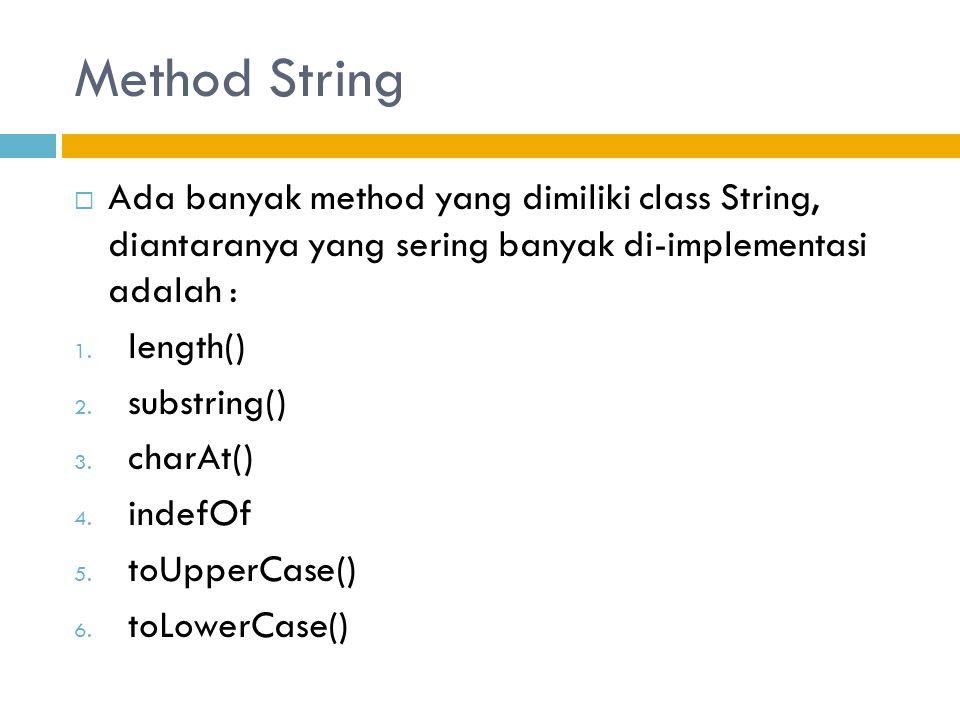 Method String Ada banyak method yang dimiliki class String, diantaranya yang sering banyak di-implementasi adalah :
