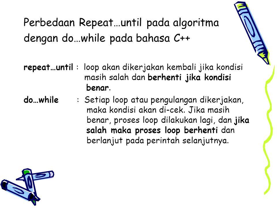 Perbedaan Repeat…until pada algoritma dengan do…while pada bahasa C++
