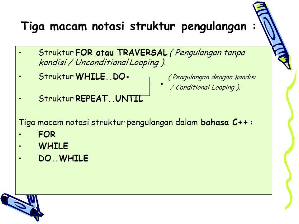 Tiga macam notasi struktur pengulangan :
