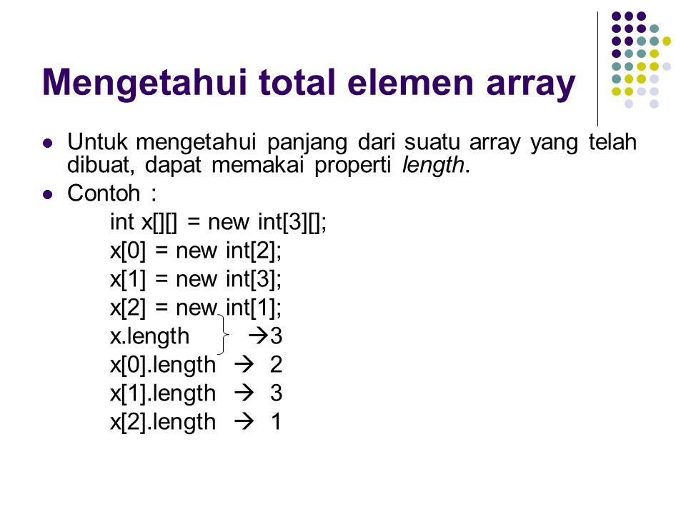 Mengetahui total elemen array