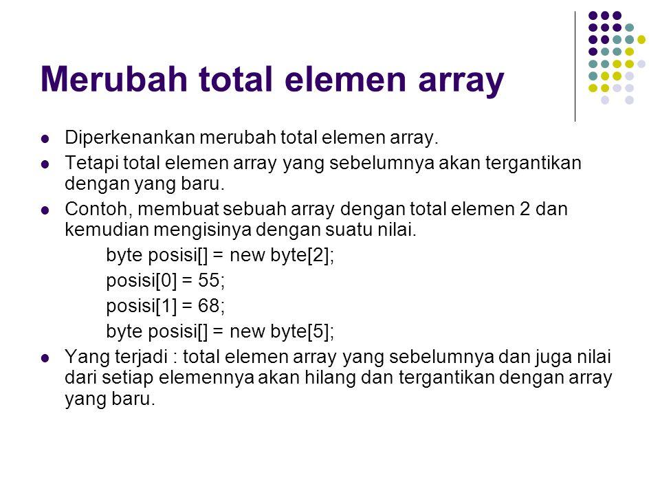 Merubah total elemen array