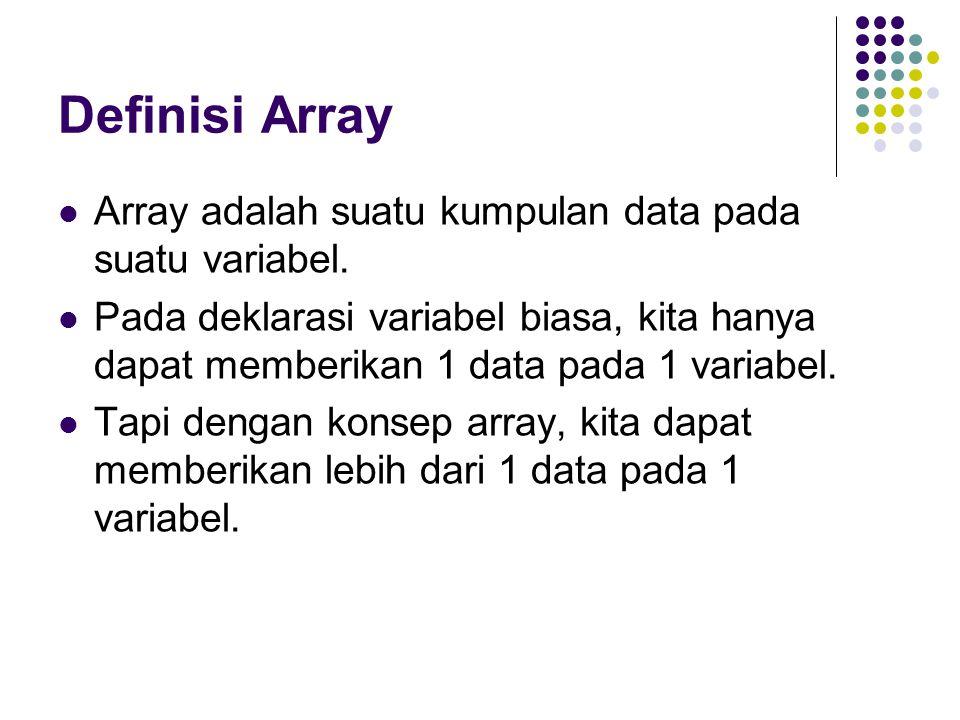 Definisi Array Array adalah suatu kumpulan data pada suatu variabel.