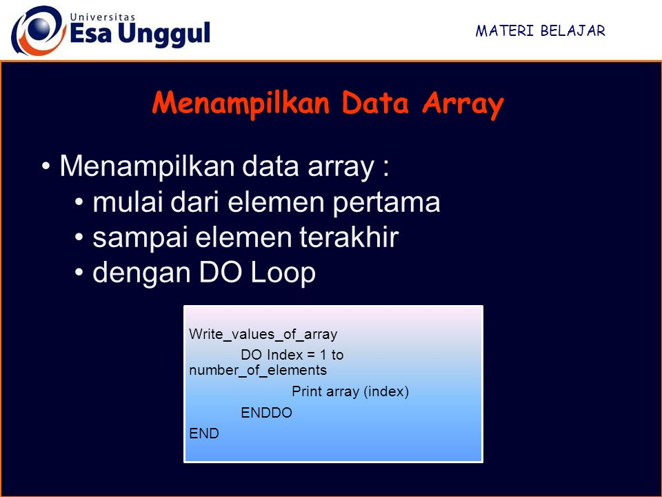 Menampilkan Data Array