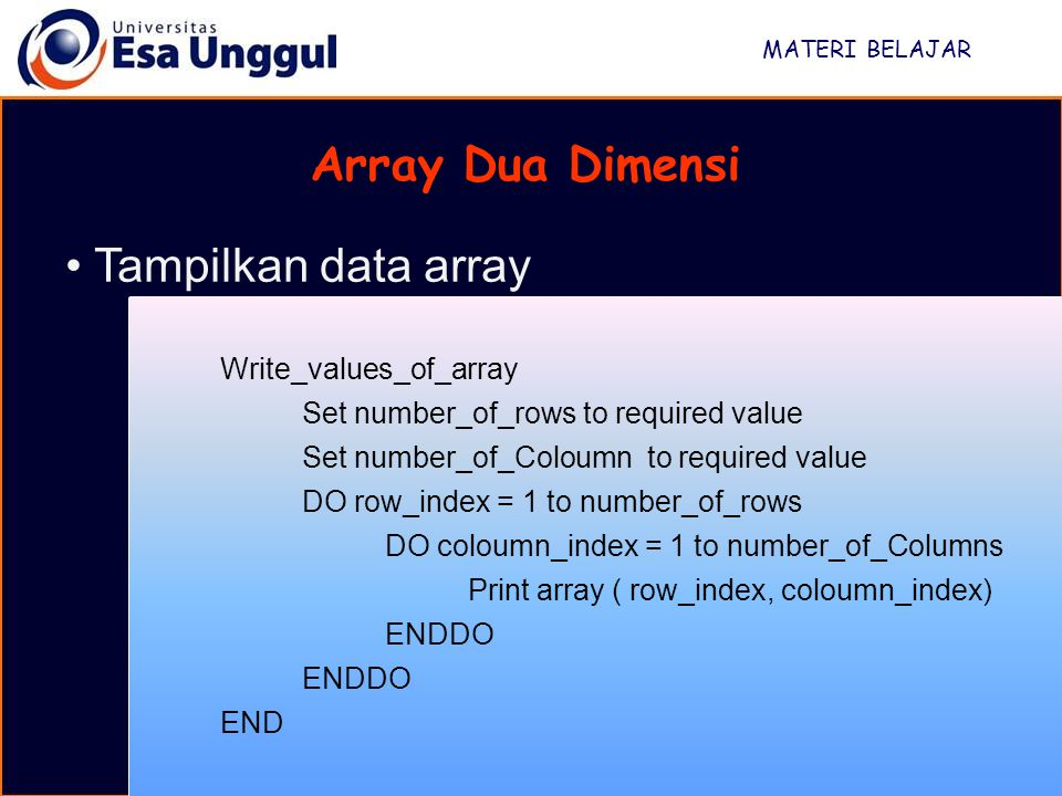 Array Dua Dimensi Tampilkan data array Write_values_of_array
