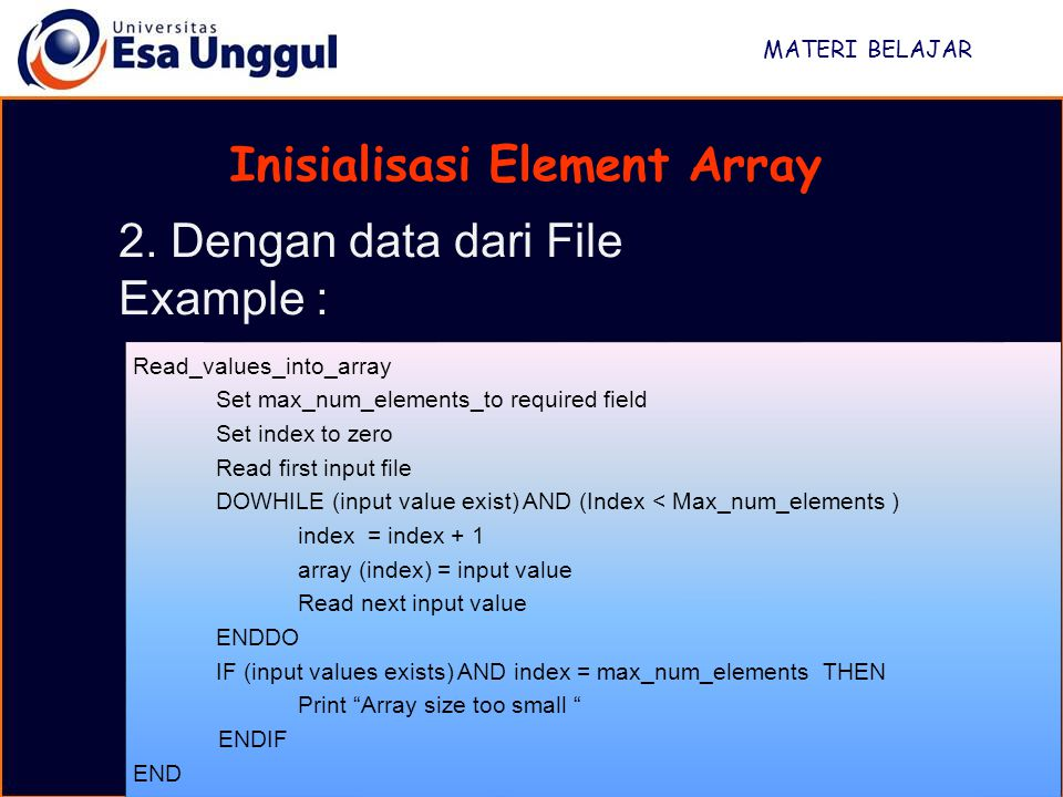 Inisialisasi Element Array