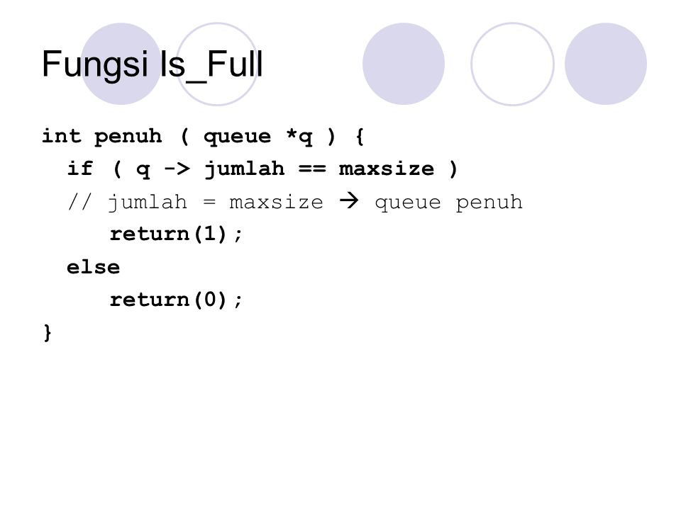 Fungsi Is_Full int penuh ( queue *q ) {
