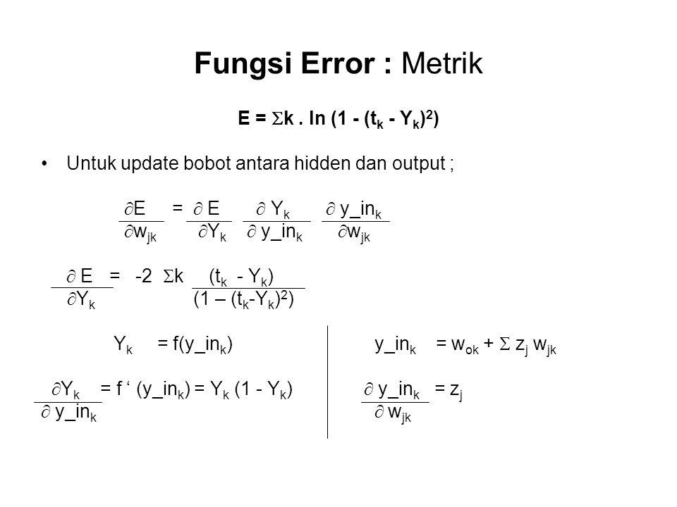 Fungsi Error : Metrik E = k . ln (1 - (tk - Yk)2)