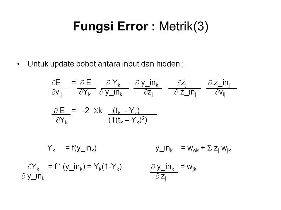 Fungsi Error : Metrik(3)