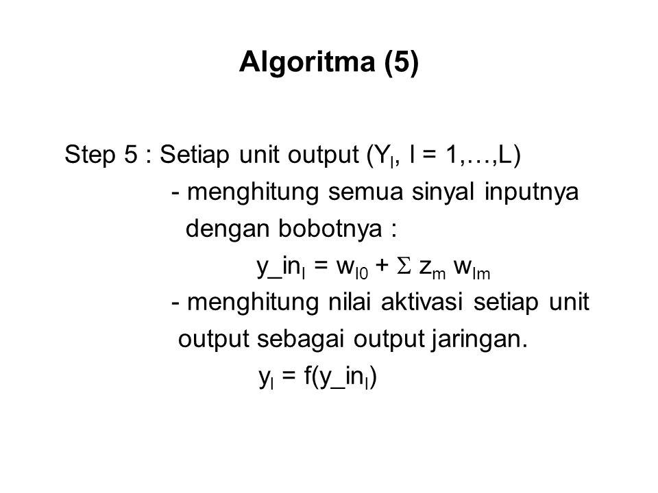Algoritma (5) Step 5 : Setiap unit output (Yl, l = 1,…,L)
